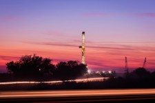 Fracked well at sunset