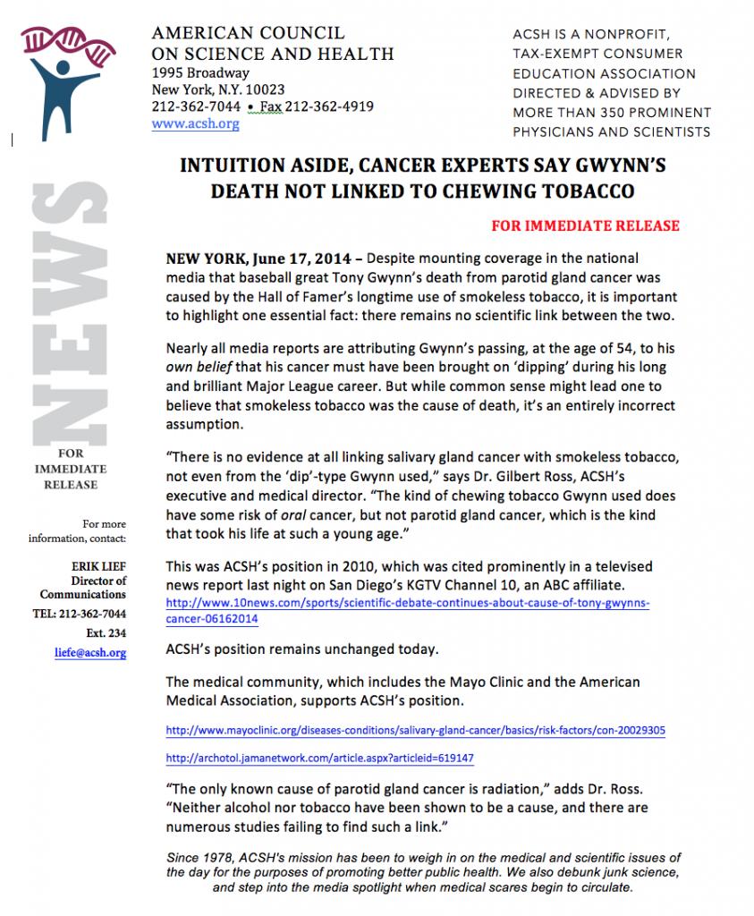 Tony Gwynn Press Release PDF 061714