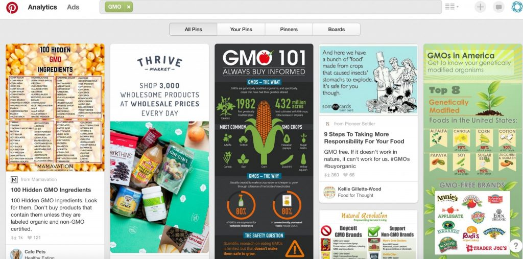 Anti-GMO propaganda dominates Pinterest.