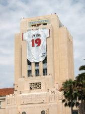 Tony Gwynn's retired jersey display in San Diego via Shutterstock