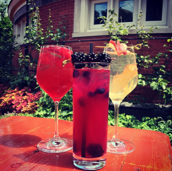 Red and white sangria, blue lemonade. Credit: Tavern on the Green, Manhattan.