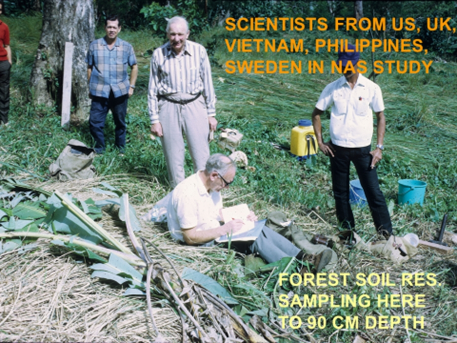 "The elderly man, standing, was Geoffrey Blackman, the man who first discovered 2,4-D and its value in weed control. He was from UK, Imperial University. The person seated is the Director of the British Weed Research Organization, John Fryer Fryer. I took the picture in one of our ""forest residue"" plots."