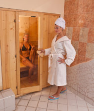 Beautiful people enjoying infrared saunas