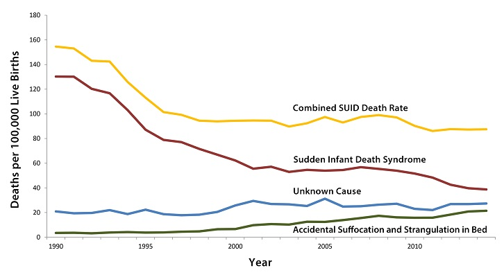 Sudden Infant Death Syndrome (SIDS) rates declined considerably from 130.3 deaths per 100,000 live births in 1990 to 55.7 deaths per 100,000 live births in 2001. Unknown Cause infant mortality rates have remained unchanged from 1990 to 2010. In 2011, the Unknown Cause mortality rate in infants was 22 deaths per 100,000 live births. Accidental Suffocation and Strangulation in Bed (ASSB) mortality rates remained unchanged until the late 1990s. Rates started to increase beginning in 1998 and reached the highest rate at 17.8 deaths per 100,000 live births in 2008. The total combined Sudden Unexpected Infant Death rate (which includes SIDS, Unknown Cause, and ASSB) declined considerably following the American Academy of Pediatrics safe sleep recommendations released in 1992 the initiation of the Back to Sleep campaign in 1994, and the release of the Sudden Unexplained Infant Death Investigation Reporting Form in 1996. However, the total combined Sudden Unexpected Infant Death rate has not decreased significantly since 1999.
